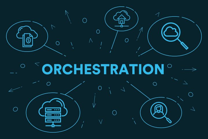 Conceptual business illustration with the words orchestration